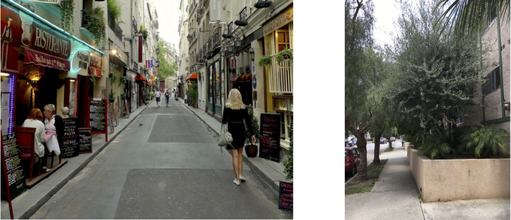 A street in Paris (l.) and a street in Los Angeles (r.).